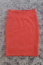 LuLaRoe Cassie Skirt Size Large Bright Neon Orange with Black Stripes