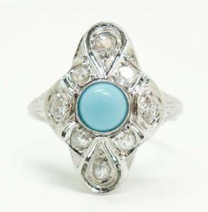 Antique Art Deco 18K White Gold Filigree Diamond Turquoise Ladies Ring Size 4.75
