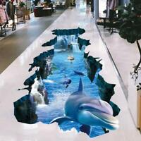 3D Dolphin Gebrochene Wand Wandtattoo Wandsticker Sticker Meer Unterwasserwelt