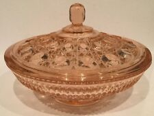 Vintage PINK DEPRESSION GLASS CANDY BOWL w/LID~FEDERALGLASS~BUTTON & CANE