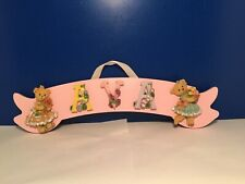 Ava Wooden Hanging Name Plate Sign With Teddy Bears & Flowers For Child'S Room