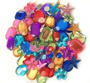 300+ Mixed Flat Back Acrylic Gems Jewels Mixed Shapes & Colours 5 10 15mm Crafts