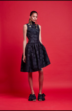 Nicola Finetti Black Boat High Neck Dress Sleeveless Silver Floral Ruffle Formal