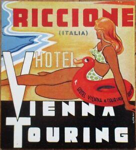 Pinup/Bathing Beauty 1930s Italian Luggage Label: Riccione, Italy - Vienna Hotel