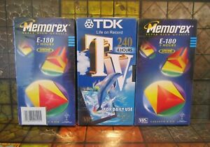 Memorex E-180 x2 & TDK 240 x1 VHS video cassette tapes x3 New & Sealed