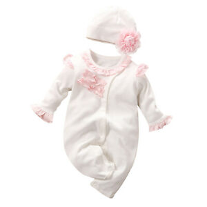 Toddlar Baby Girls Outfits Romper+Hat Set Jumpsuit Bodysuit Casual Fashion Wear