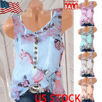 Women Sleeveless Chiffon Tops Floral Printed Vest Buttons Summer Casual Blouse