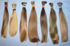 HUMAN HAIR EIGHT MIXED PONYTAILS FROM 8 FEMALE HAIRCUTS 8ozs REBORN DOLLS N81