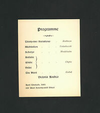 pianist Victoria Boshco * 1903 program card for piano recital * Nathalie Boshco