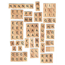 100PCs Wooden Alphabet Scrabble Tiles Letters with Letter Easy to Apply