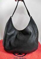 Tory Burch Marion Black Leather Whipstitch Hobo Shoulder Bag