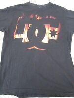 DC Shoes Men's Tshirt Short Sleeve Fire Flames Black Size Large