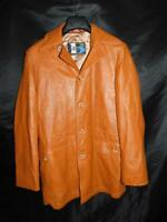Vintage 70s S M Brier of Amsterdam Brown Leather Jacket Sport Coat Mens Button