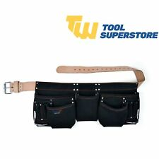 Heavy Duty 11 Pocket Professional Double Pouch Leather Tool Belt Black leather