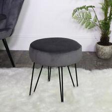 Dark grey velvet dressing table stool upholstered seating bedroom boudoir decor
