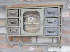 Industrial Vintage French Wall Storage Drawer Hook Cabinet