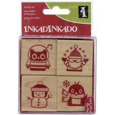 """Inkadinkado Holiday Friends Christmas Mounted Rubber Stamp, 3"""" by 3"""""""
