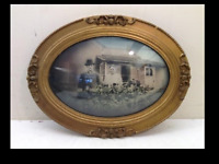 Vintage Antique Oval Convex Bubble Glass mid to late 1800's hand colored photo