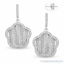 Micro-Pave Cubic Zirconia CZ Crystal 925 Sterling Silver Dangling Star Earrings