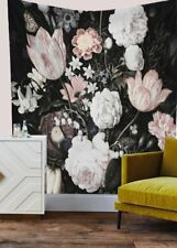 Floral Tapestry Black Blossoms Beautiful Flower Wall Hanging Home Decor Wall Art