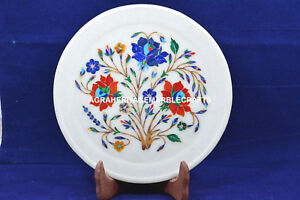 """8"""" Creative Marble Round Serving Plate Marquetry Inlay Collectible Decor H5453"""