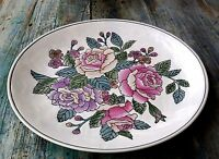 ROMANTIC EMBOSSED ROSE FLOWERS CERAMIC SERVING /DECORATIVE PLATE 11""