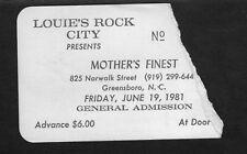 1981 Mother's Finest concert ticket stub Greensboro Nc Iron Age