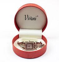 Vivani: SIlver Toned Bracelet Band Watch w/ Faux Rhinestone - Women's   NEW