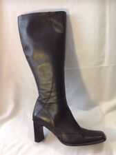 Ladies Black Knee High Leather Boots Size 38