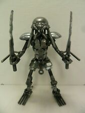 Metal Predator w/ Double Swords Mini Sculpture - Made From Recycled Metal -