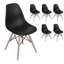 Lot de 6 chaises design tendance rétro bois chaise de salle à manger cuisineNoir