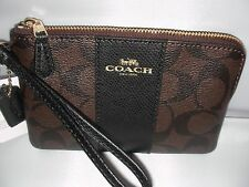 NEW COACH LADIES WRISTLET SIG PVC LEATHER CRN ZIP BROWN / BLACK COLOR