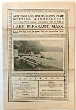Lake Pleasant Ma 1906 New England Spiritualist Camp Meeting Clairvoyants Mediums