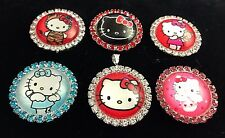 HELLO KITTY 27mm GLASS DOME FLATBACK CABOCHON RHINESTONE EMBELLISHMENTS 6 pcs Z