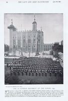 The 1st Suffolk Regiment at the Tower of London -Antique Photographic Print 1896