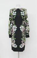 HOBBS Ladies Passiflora Black Multi Floral Knee Length Shift Dress UK10 NEW