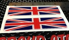 """Great Britain Flag Proud Domed Decal Emblem Flexible 3D 4""""x1"""" Set of 2 Stickers"""