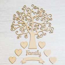 Autumn Family Tree Pack with Hearts Banner Wooden Ribba Frame Guestbook Art MDF