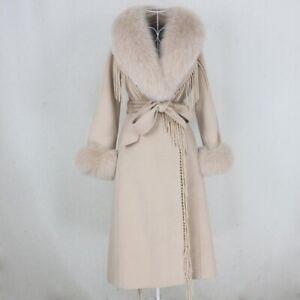 Tassel Cashmere Wool Real Fur Coat Belt Jacket Women Fox Fur Collar Streetwear