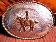 VINTAGE SOLID STERLING SILVER Front Horse & Rider Belt Buckle Custom Made