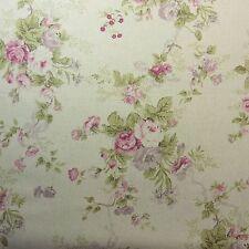 Lovely Linen Blend Fabric Rose Flower Shabby Chic Ivory Home Deco