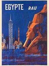 Egypt Egypte Rau Sphinx Cairo Vintage Egyptian Travel Advertisement Art Poster
