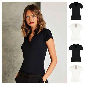 Ladies Womens Mandarin Collar Short Sleeve Smart Suit Stretch V-Neck Work Top