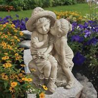 New Design Toscano Girl & Boy Kissing Statue Garden Ornament
