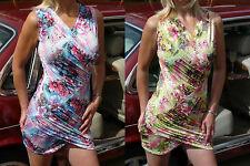 Sexy Cool Summer Print Dress Green/Orange Blue/Pink Size 10/12 Petite