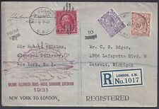 UK GB US 1931 MIXED FRANKING REGISTERED LONDON WILKINS ELLSWORTH TRANS PACIFIC