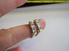 VERY PRETTY WHITE AND YELLOW GOLD DIAMOND HOO/ DROP EARRINGS -14K WITH DIAMONDS