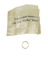 NOS Vintage 1930s Crosby 10kt Yellow Gold Baby Ring in Original Wax Paper Sleeve