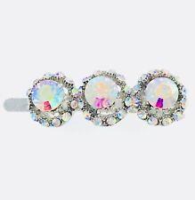 Magnet Hair Clip Hairpin  Rhinestone Crystal Barrette Elegant Jeweled Silver AB