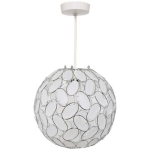 Oval Patterned Acrylic and Chrome Ball Easy Fit Hanging Pendant Light Shade